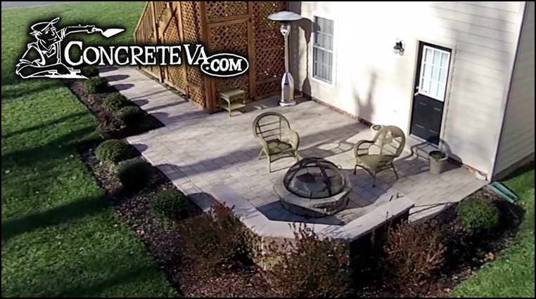 Sitting Wall and Fire Pit by ConcreteVA.com
